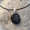 Snowflake Obsidian Palm Stone on a Leather Thong Necklace