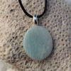 Amazonite Palm Stone on a Leather Thong Necklace - Made to Order