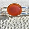 Carnelian Palm Stone Silver Bracelet
