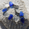 Frosted White and Cobalt Blue Sea Glass Bracelet
