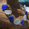White and Cobalt Blue Sea Glass Bracelet