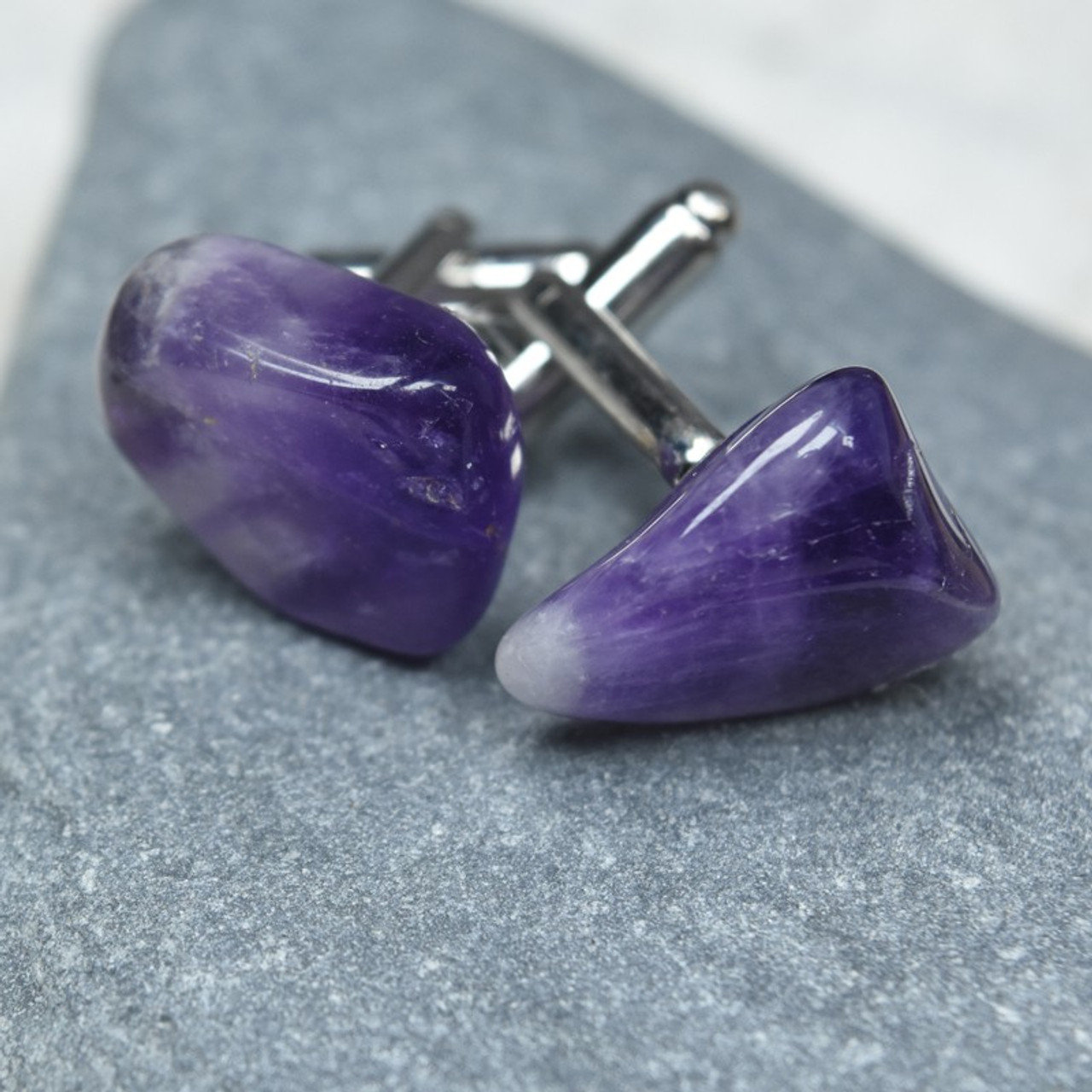 Custom Amethyst Stone Cufflinks Handmade - 1 Set