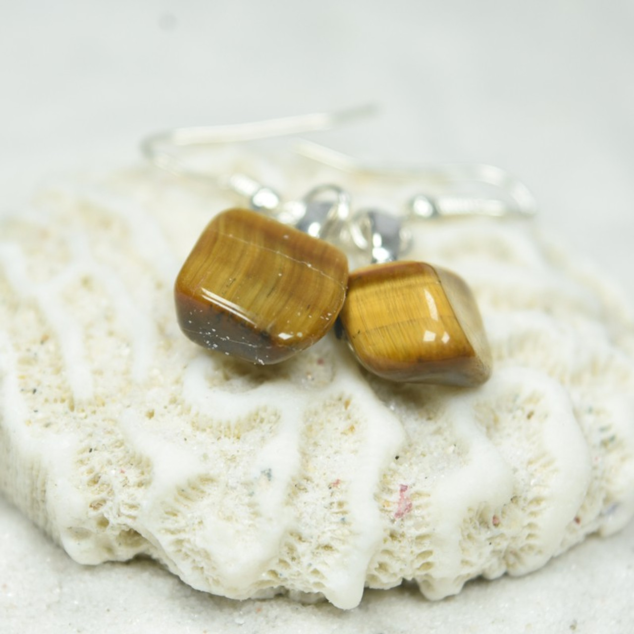 Custom Tumbled Gold Tiger's Eye Dangling Earrings - 1 Set