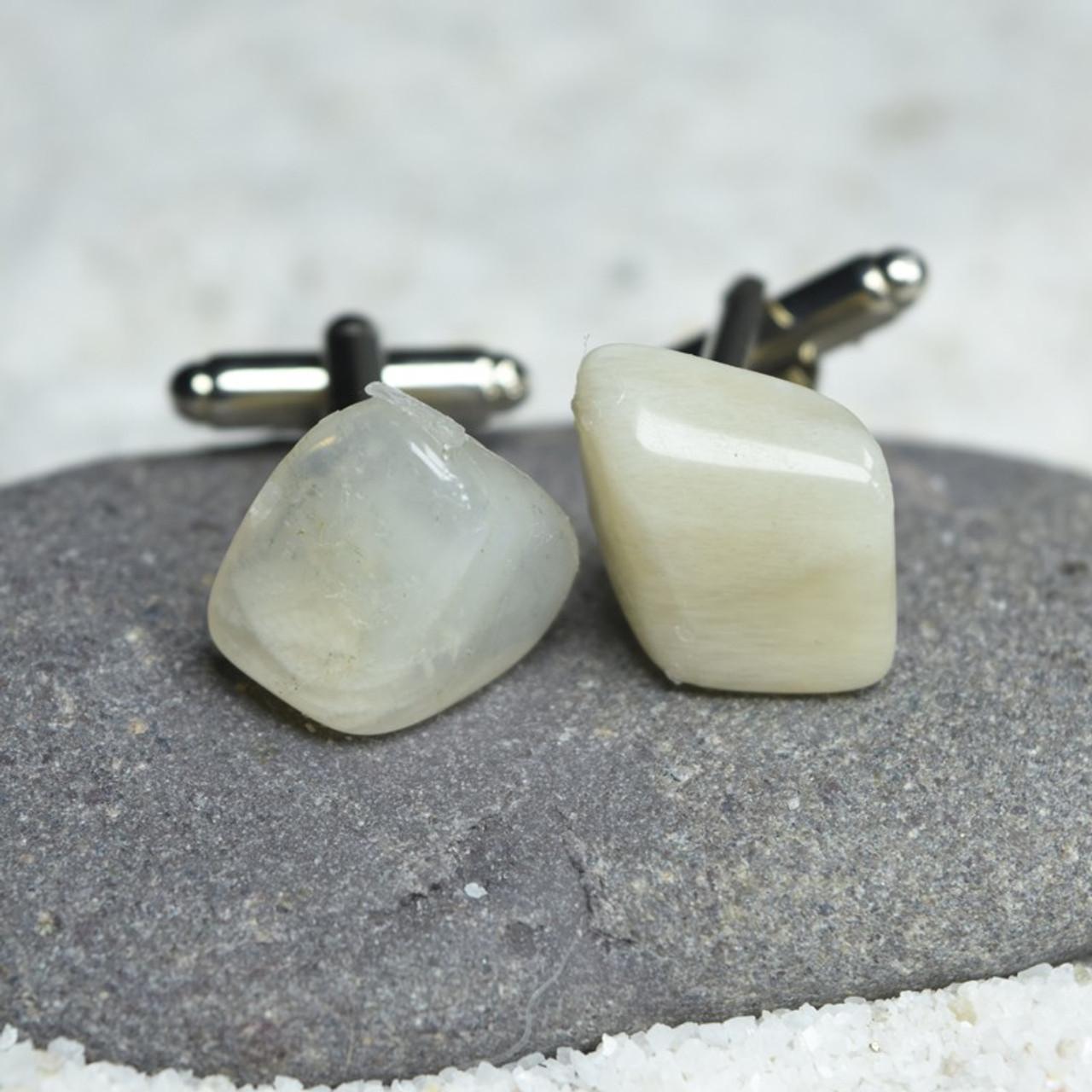 Custom Moonstone Cufflinks Handmade - 1 Set