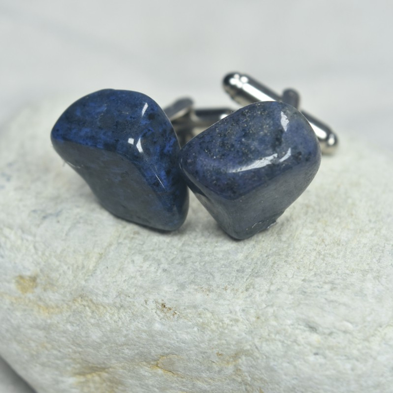 Custom Dumortierite Stone Cufflinks Handmade - 1 Set