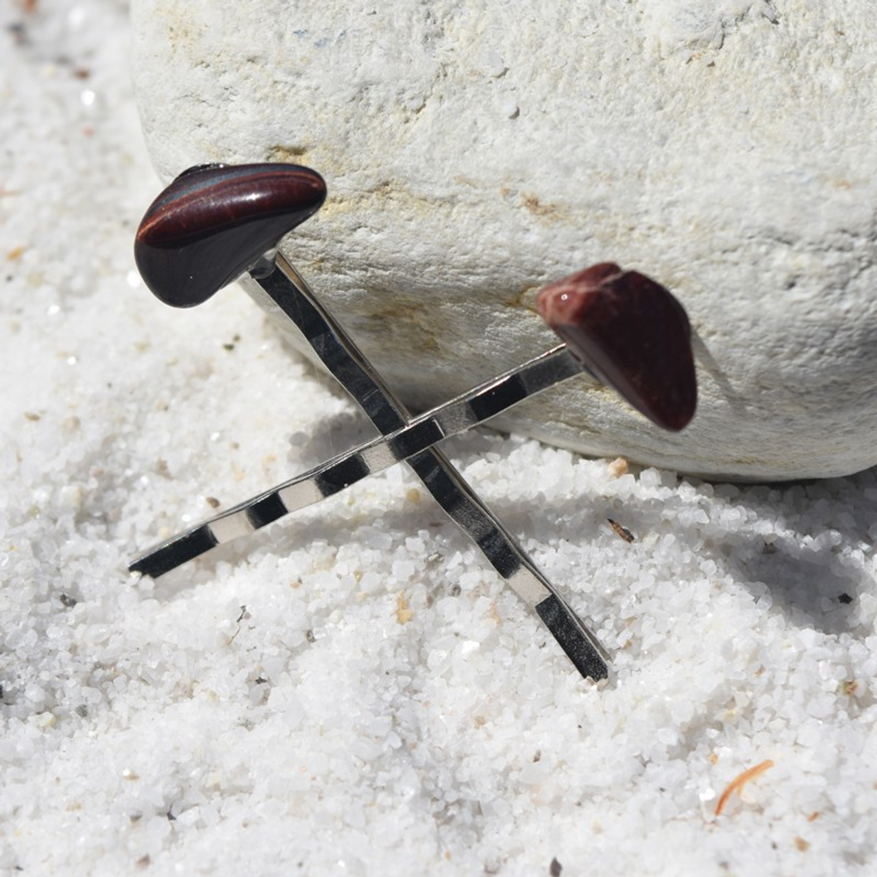 Red Tiger's Eye Stone Hair Pins (Quantity of 2)