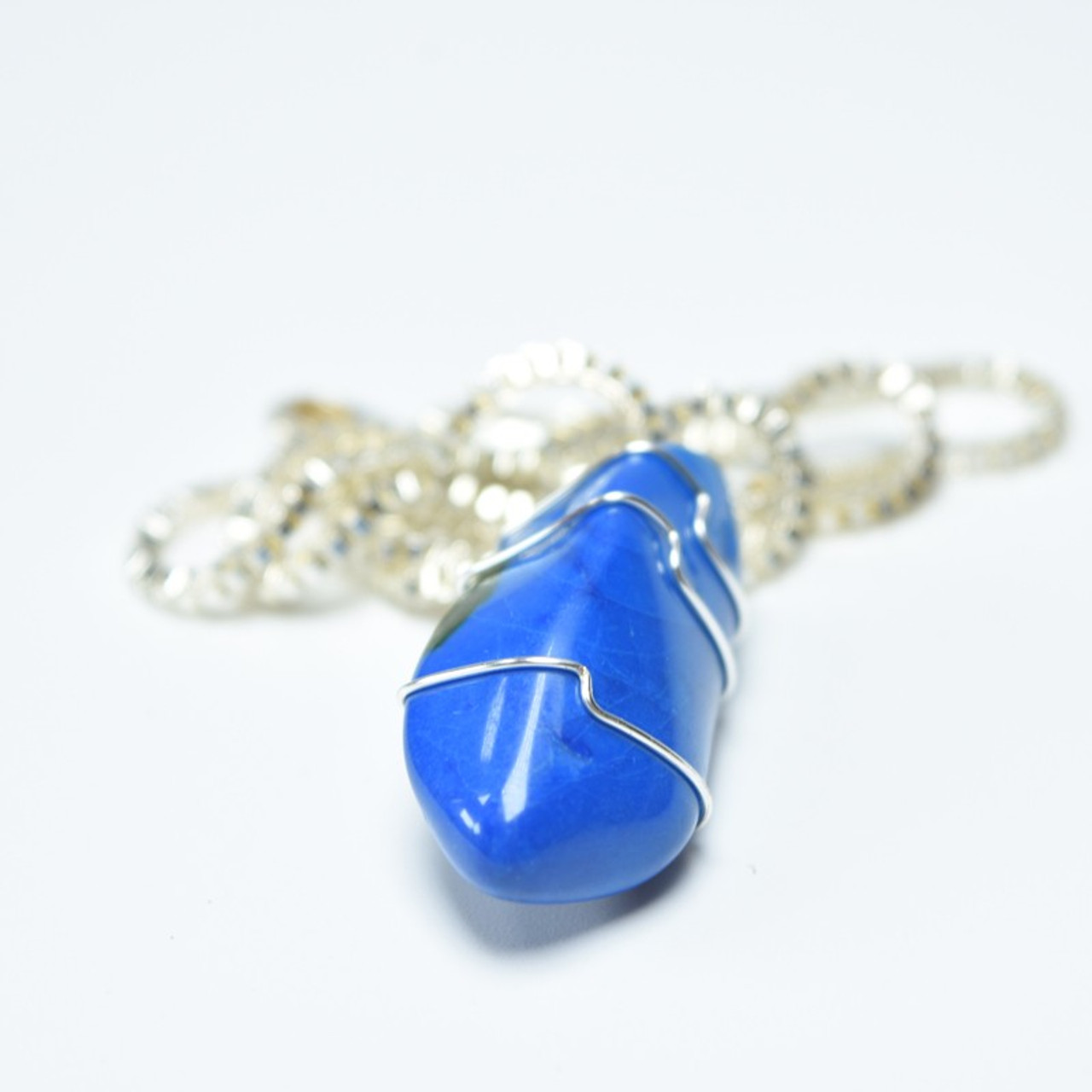 Blue Howlite Stone Wire Wrapped Necklace