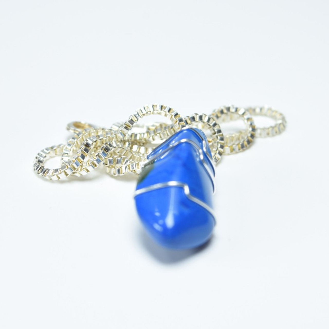 Wire Wrapped Blue Howlite Stone Necklace