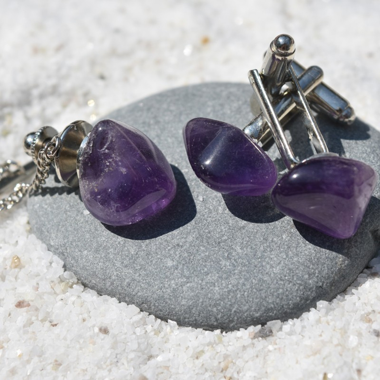 Tumbled Amethyst Stone Cufflinks and Tie Tack Set