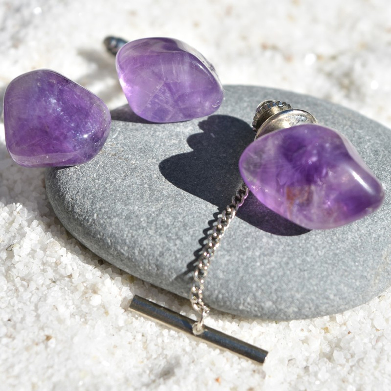 Amethyst Stone Cufflinks and Tie Tack Set