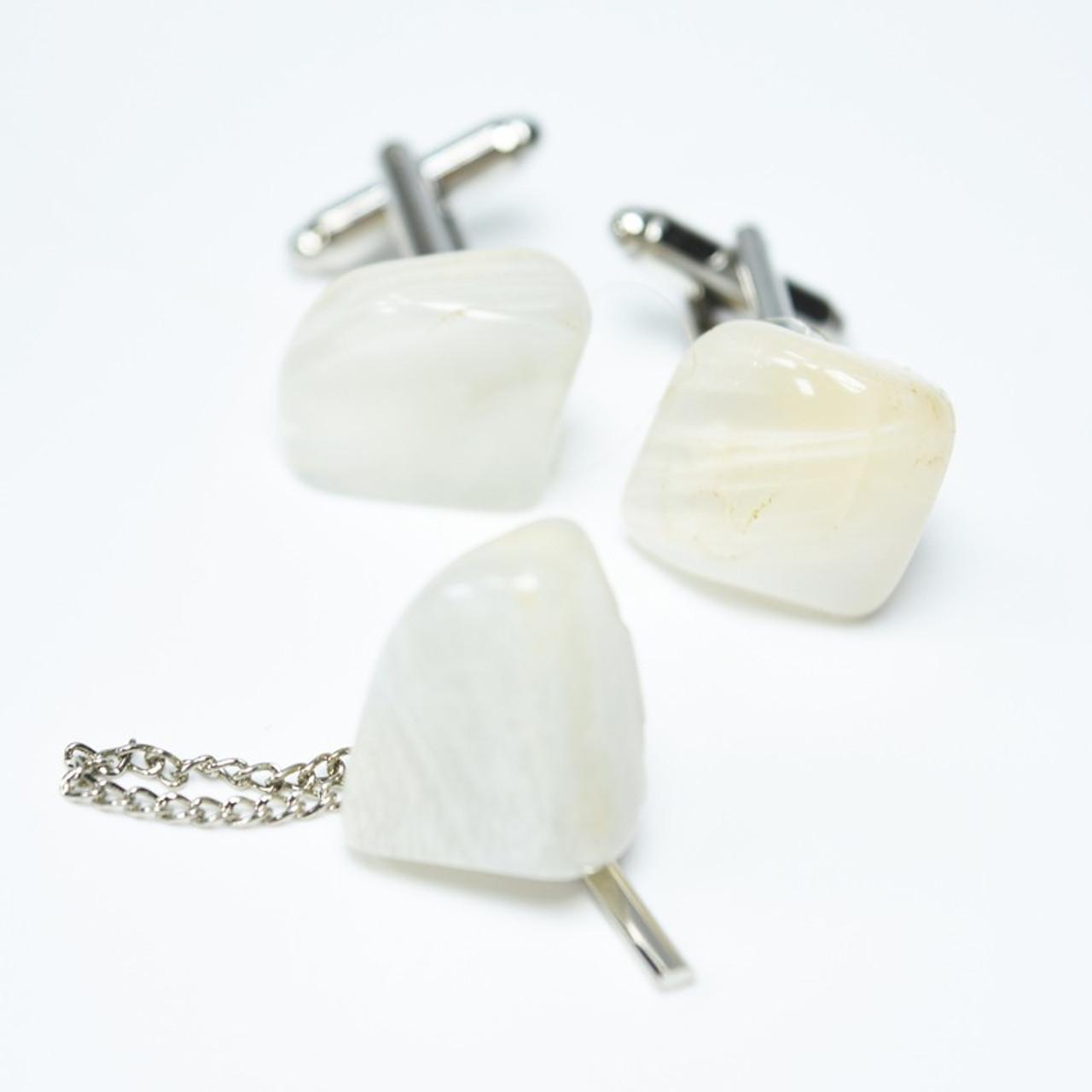 Moonstone Cufflinks and Tie Tack Set
