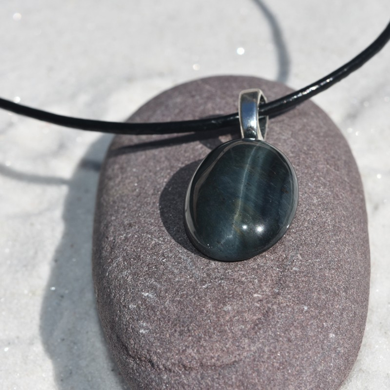 Blue Tiger's Eye Cabochon Pendant