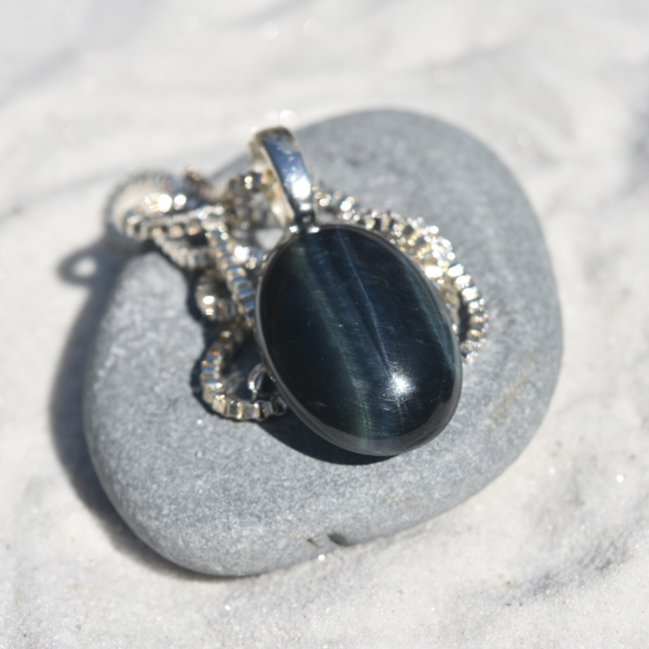 Blue Tiger's Eye Cabochon Pendant and Necklace