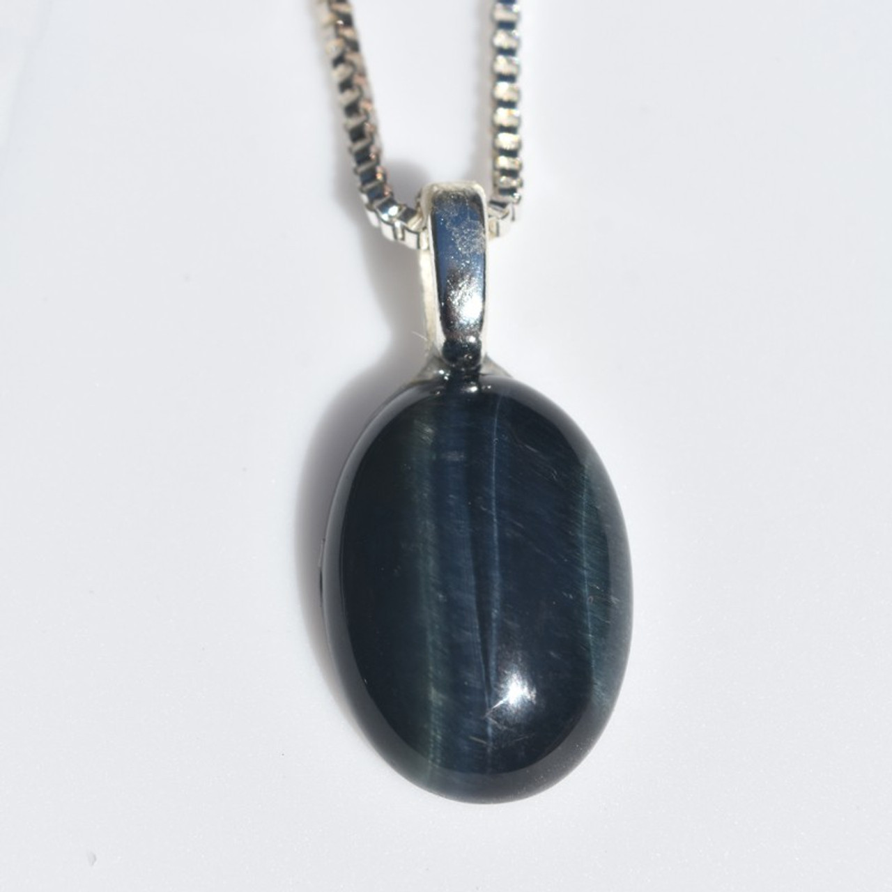 Blue Tiger's Eye Cabochon Necklace