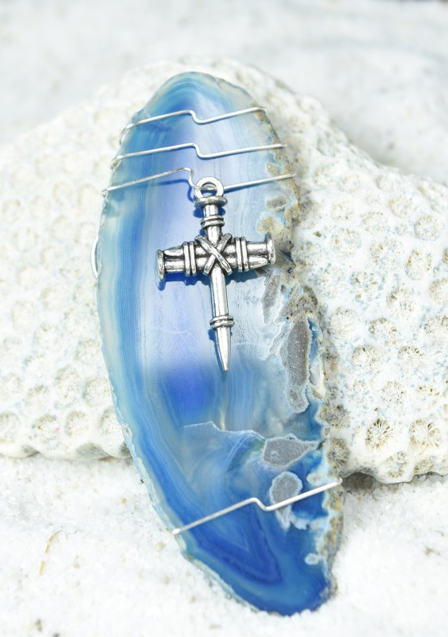 Wire Wrapped Cross Agate Slice Ornament