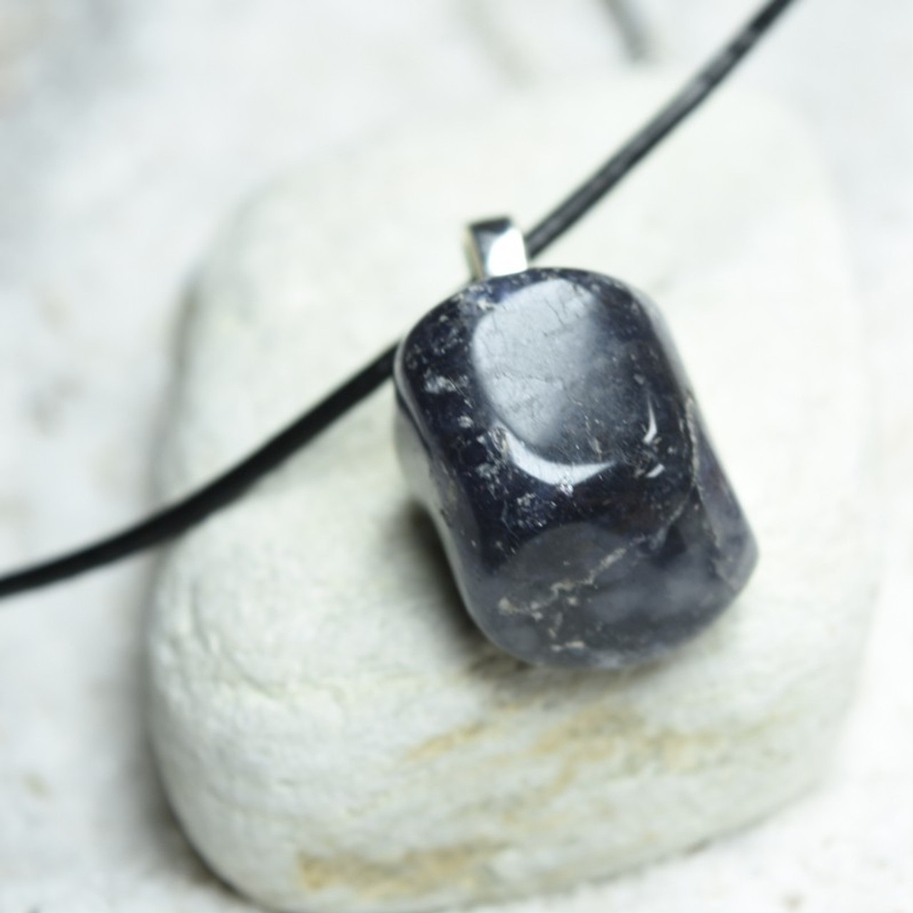 Tumbled Iolite Stone Necklace - Choose Sterling Silver Chain or Leather Cord - Quantity of 1 - Made to Order