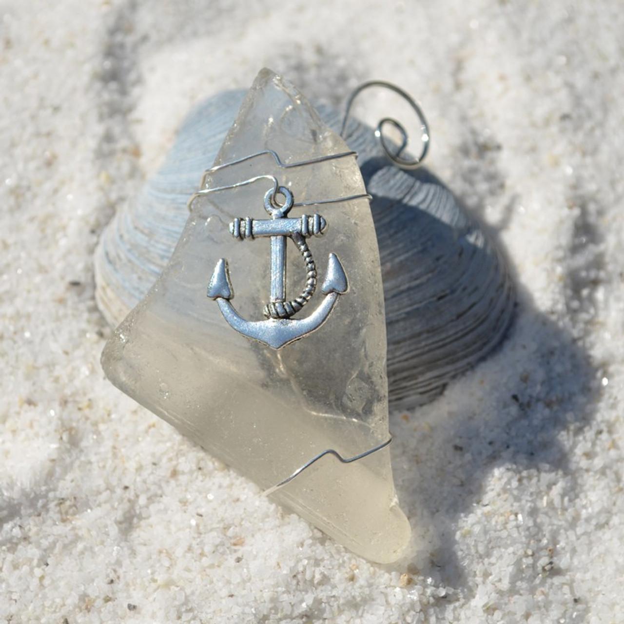 Wire Wrapped Anchor Sea Glass Ornament