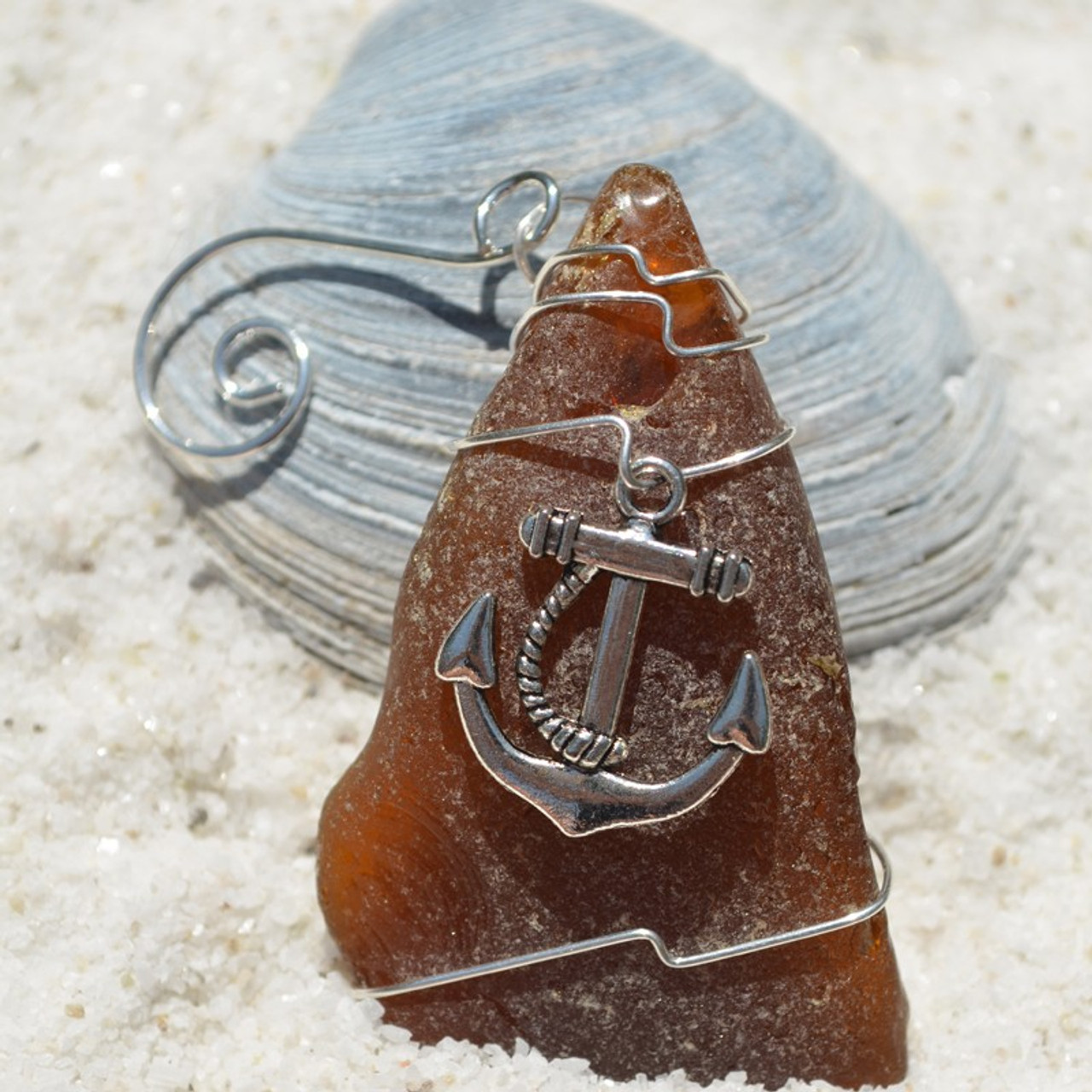 Surf Tumbled Sea Glass Ornament with a Large Anchor Charm - Choose Your Color Sea Glass Frosted, Green, and Brown - Made to Order