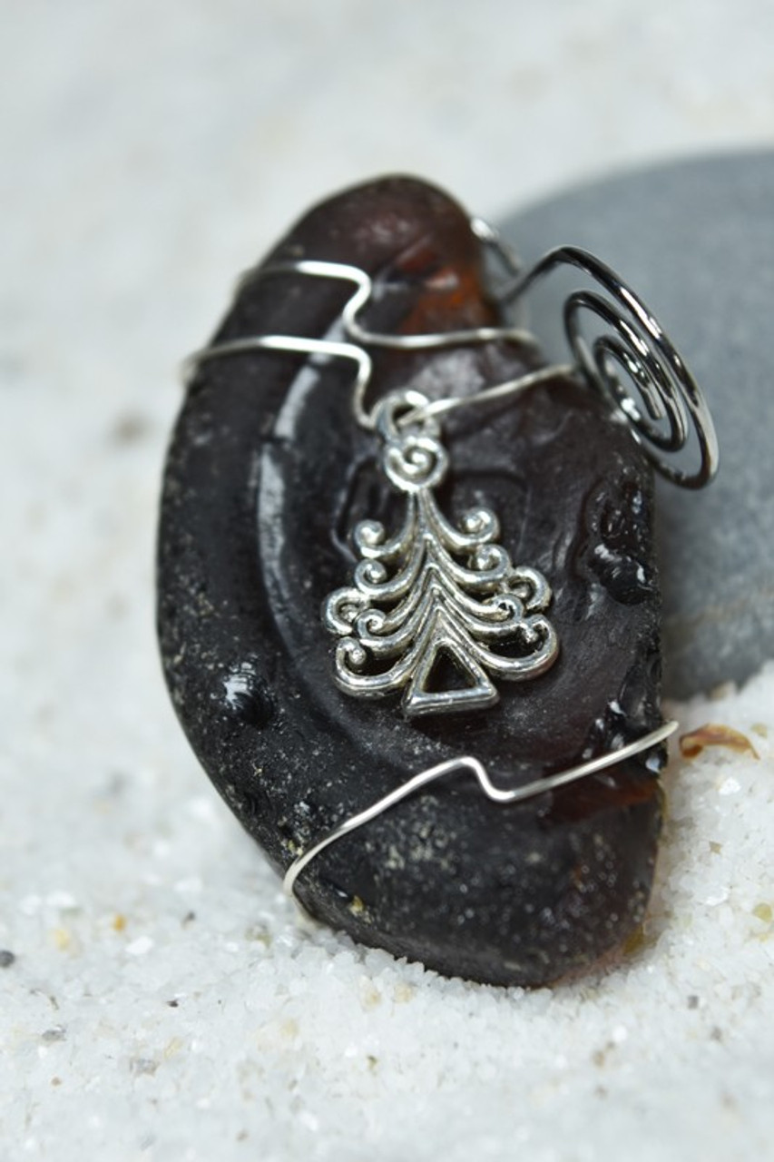 Christmas Tree Charm on a Custom Surf Tumbled Sea Glass Ornament - Choose Your Color Sea Glass Frosted, Olive Green, and Brown.