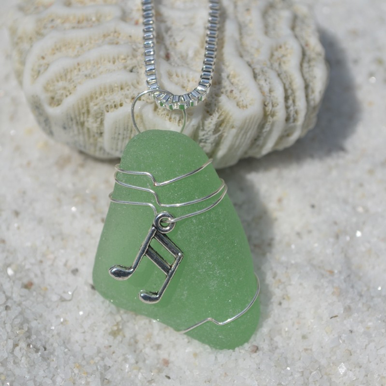 Wire Wrapped Musical Notes Pendant and Necklace