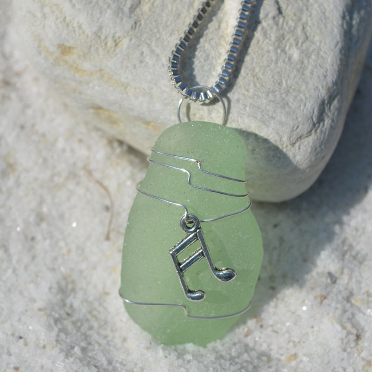 Wire Wrapped Musical Notes Sea Glass Necklace
