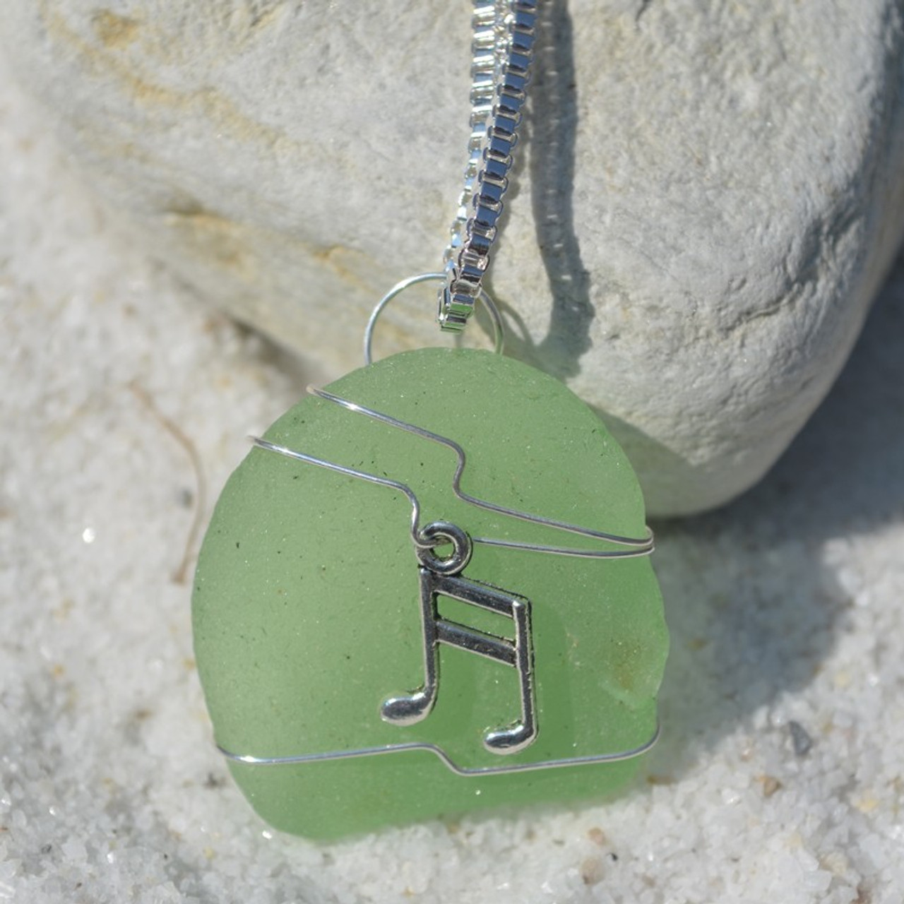 Wire Wrapped Musical Notes Sea Glass Pendant
