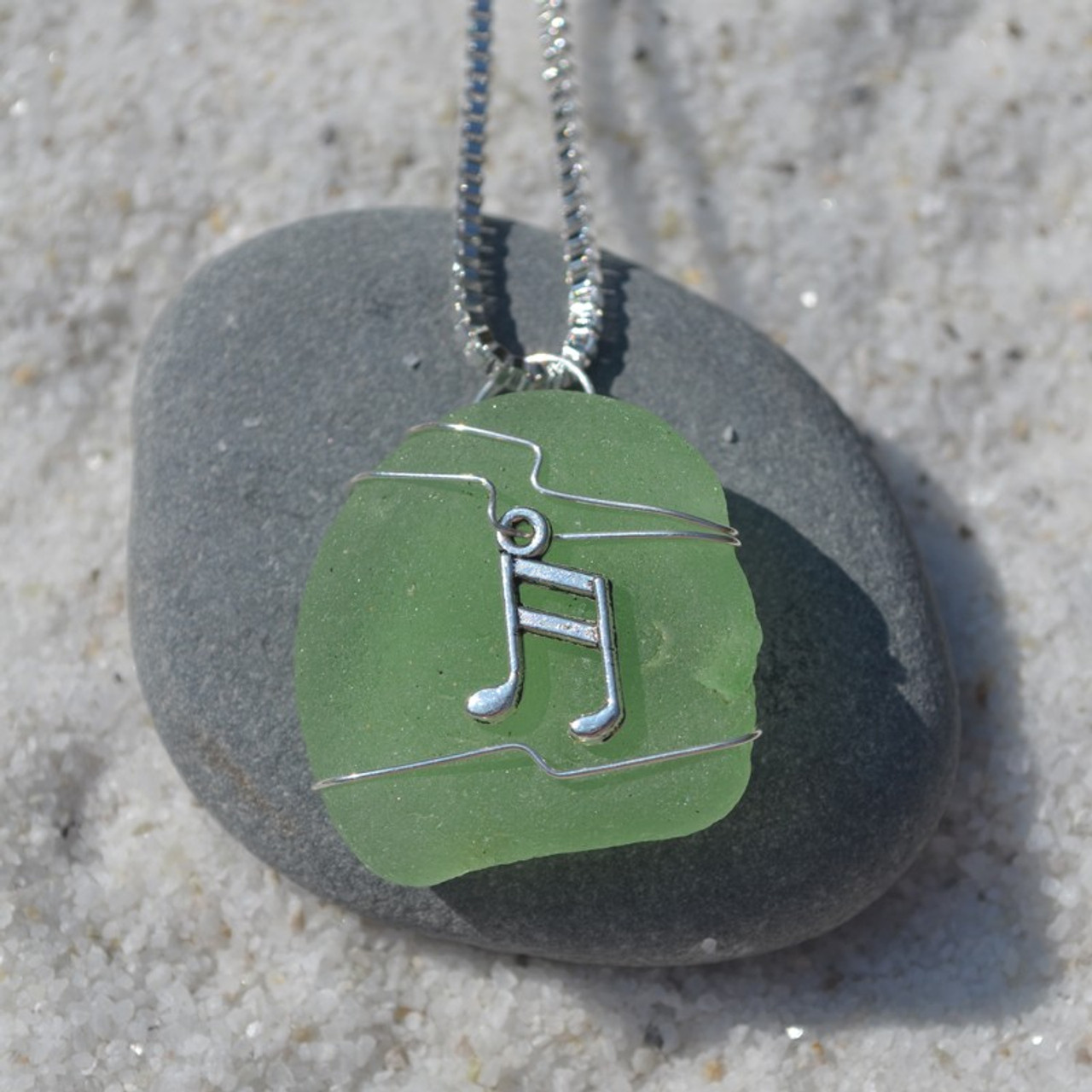 Wire Wrapped Sea Glass Musical Notes Pendant