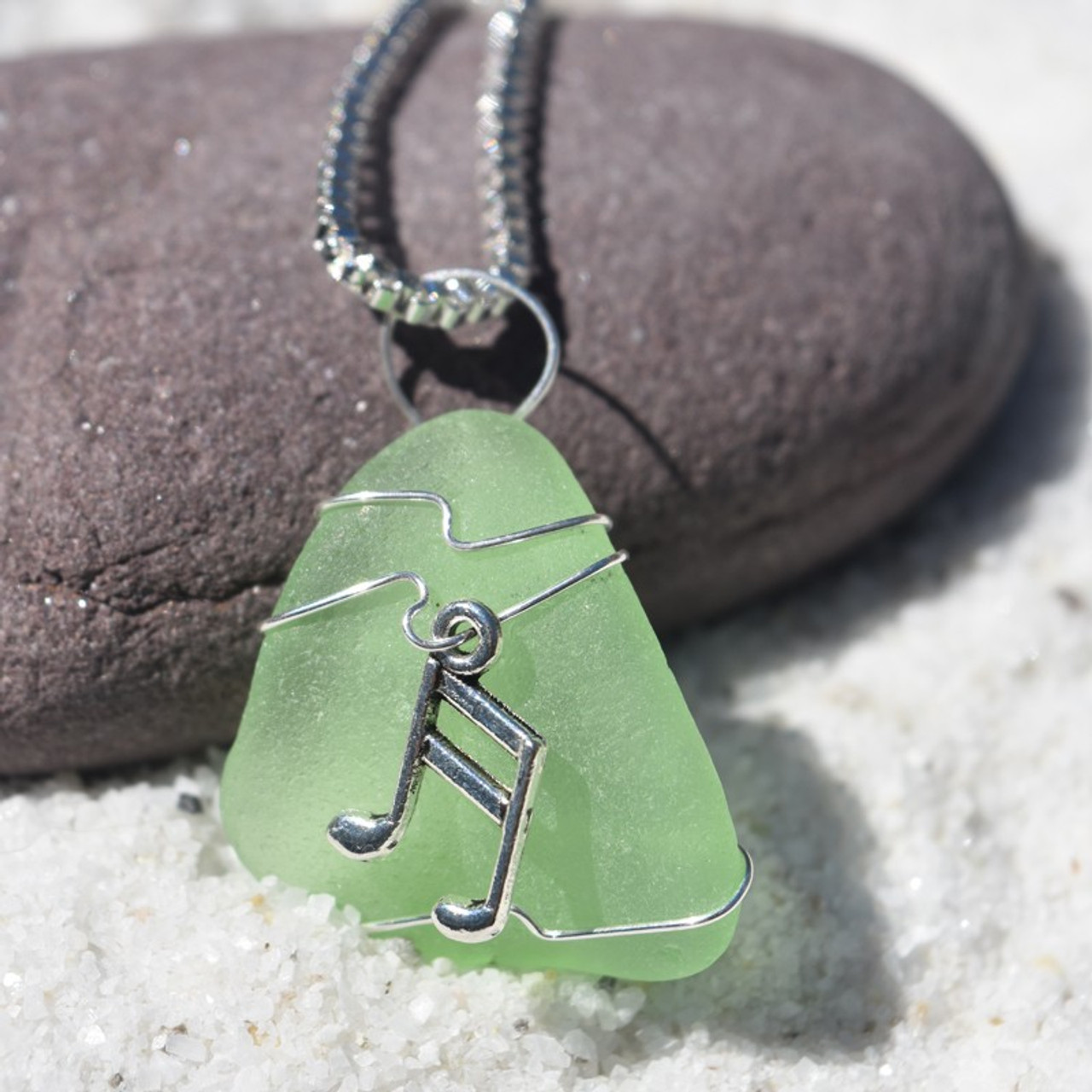 Wire Wrapped Sea Glass Musical Notes Necklace