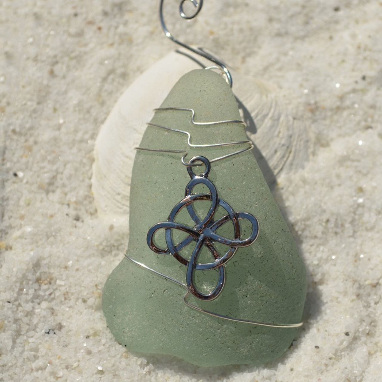 Celtic Cross Sea Glass Ornament