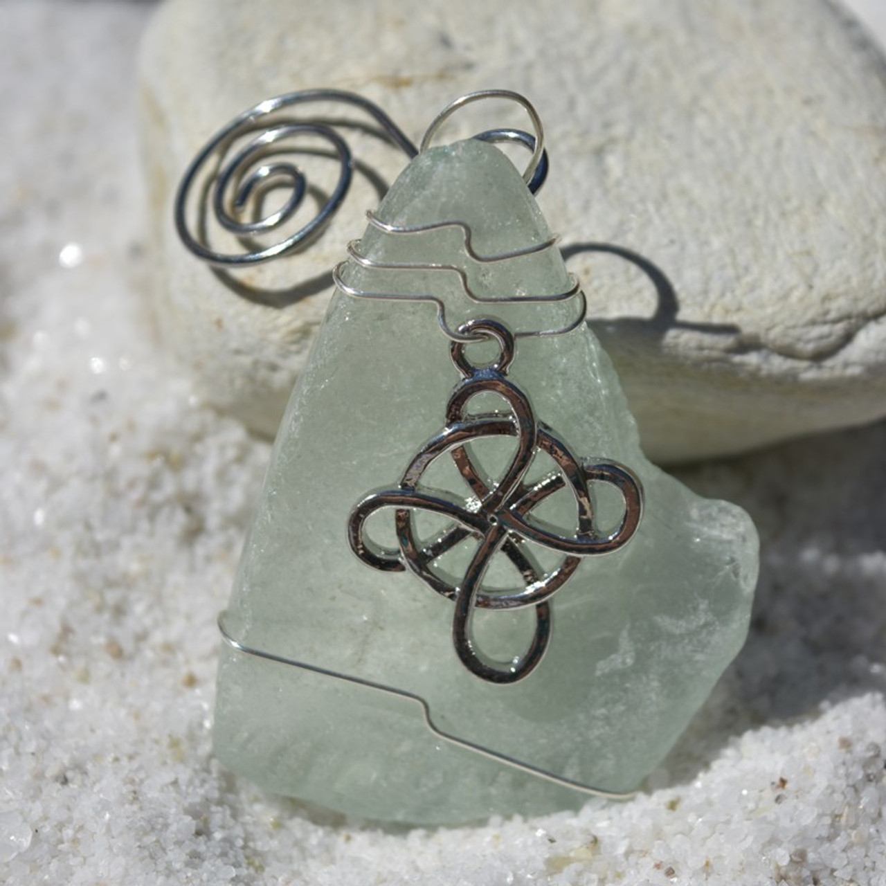 Celtic Knot Cross Sea Glass Ornament