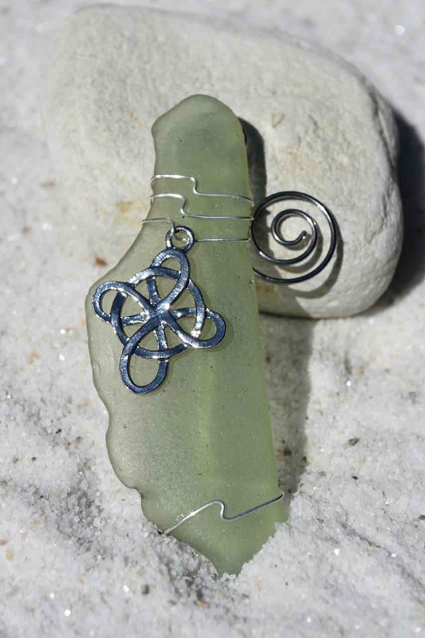 Celtic Knot Cross Sea Glass Ornament