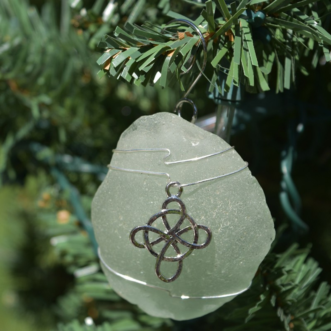 Wire Wrapped Celtic Knot Cross Sea Glass Ornament