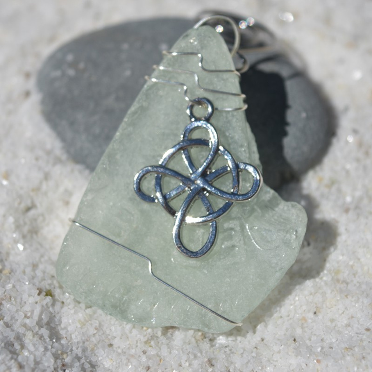Celtic Cross Charm on a Custom Surf Tumbled Sea Glass Ornament - Choose Your Color Sea Glass Frosted, Olive Green, and Brown.