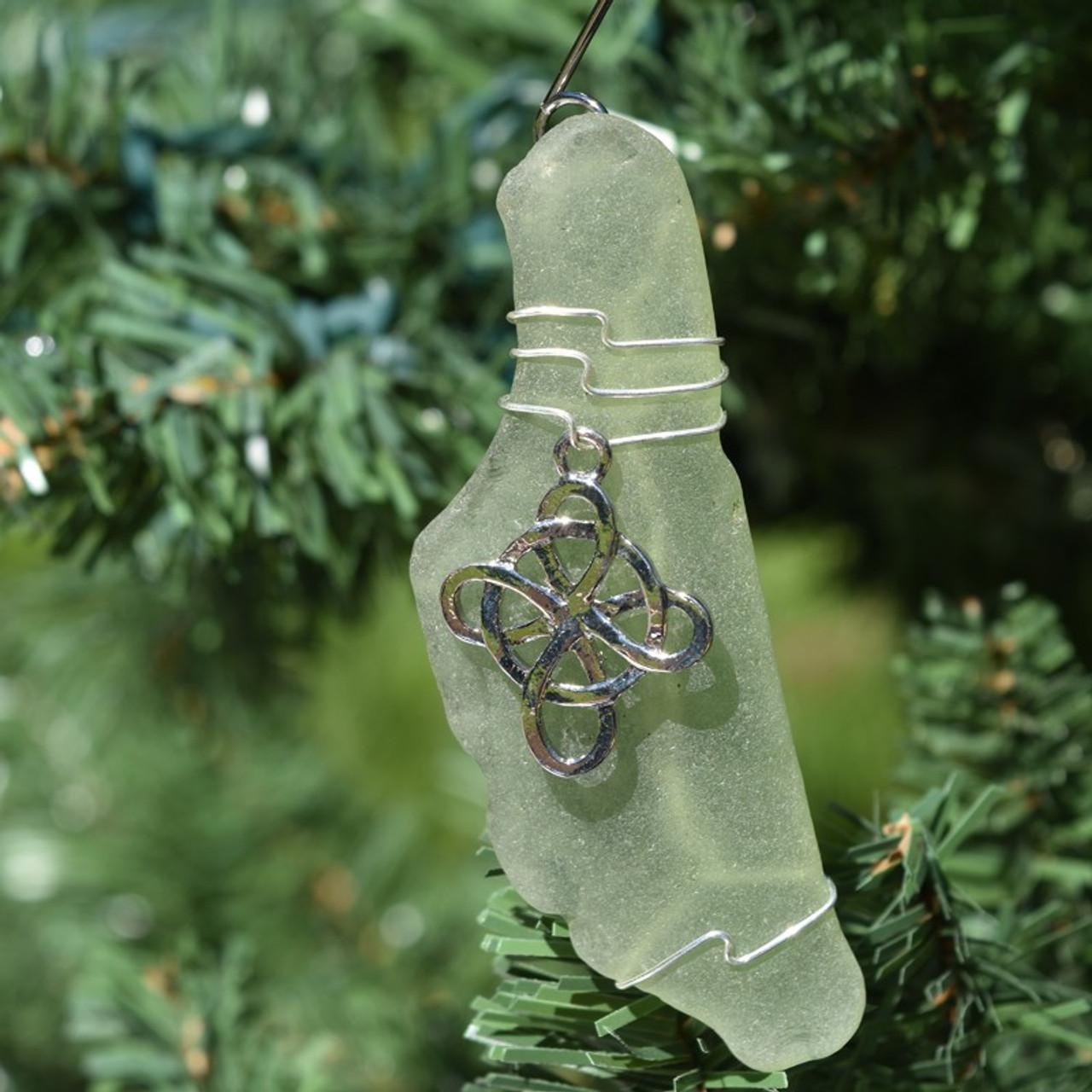 Cross Sea Glass Ornament