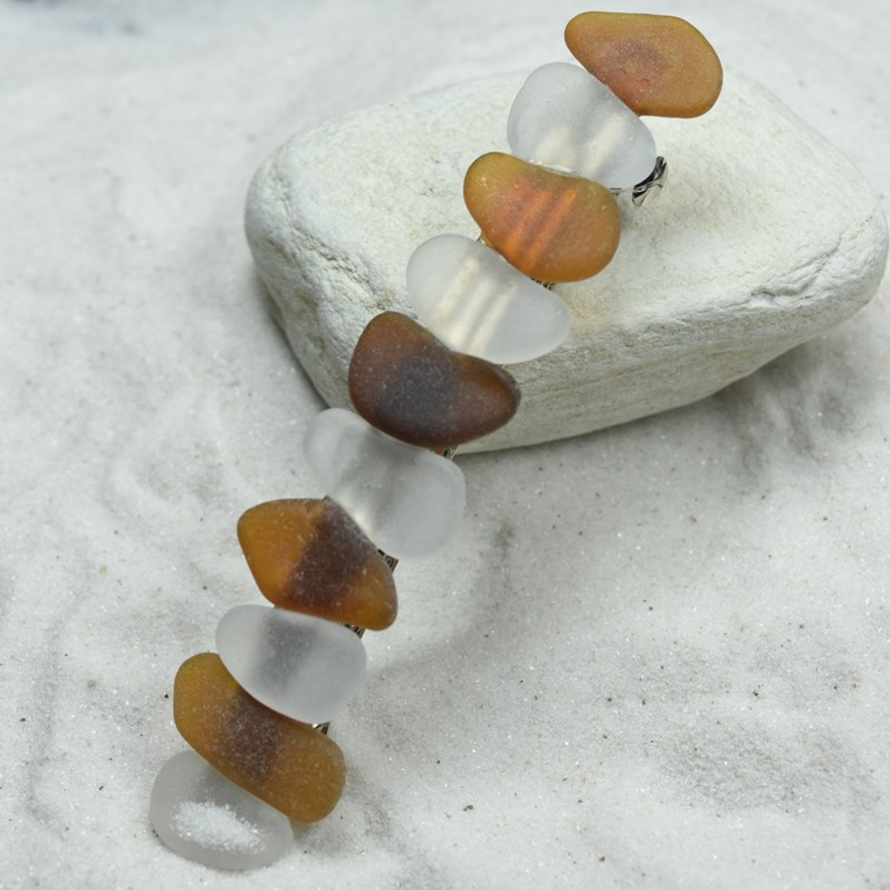 White and Brown Sea Glass Hair Clip