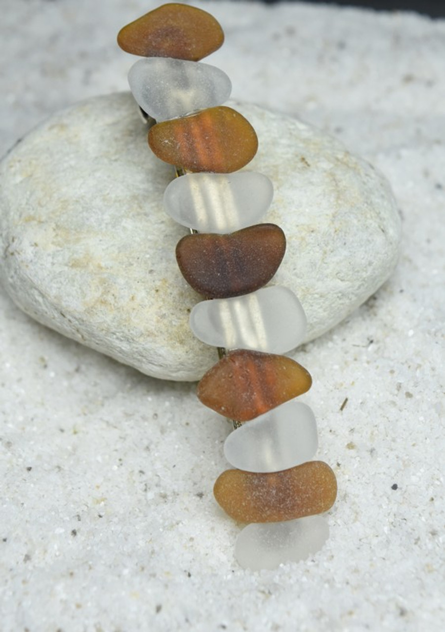 White and Brown Sea Glass French Barrette Hair Clip