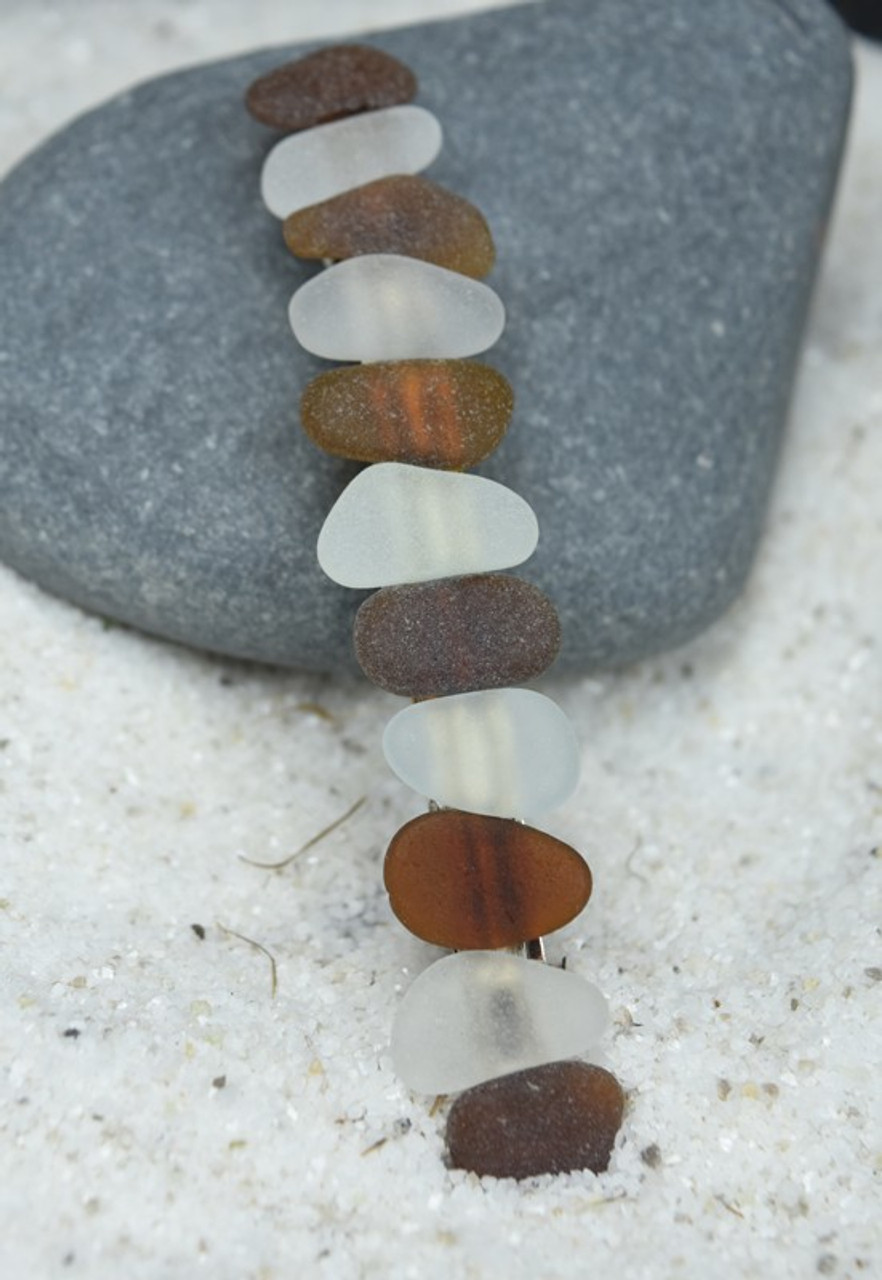 "Genuine Surf Tumbled Frosted White and Brown Sea Glass French Barrette Hair Clip 4"" or 100 mm Length - Quantity of 1"