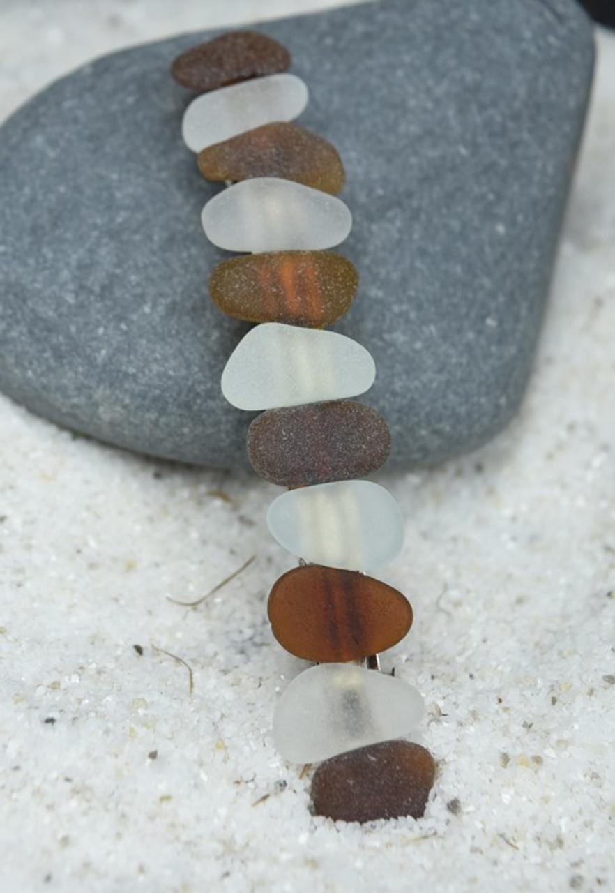 White and Brown Sea Glass Barrette