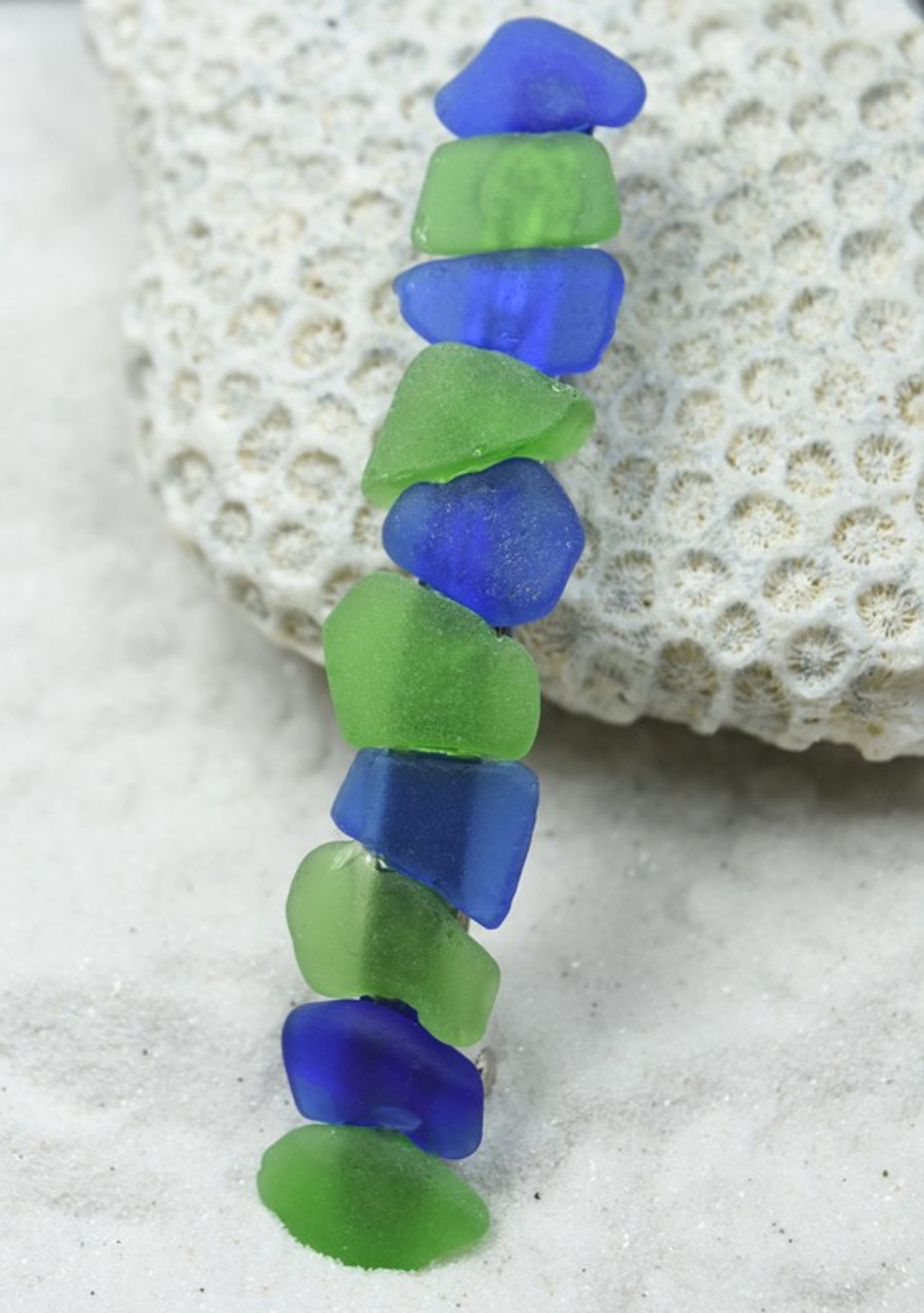Blue and Green Sea Glass Hair Jewelry