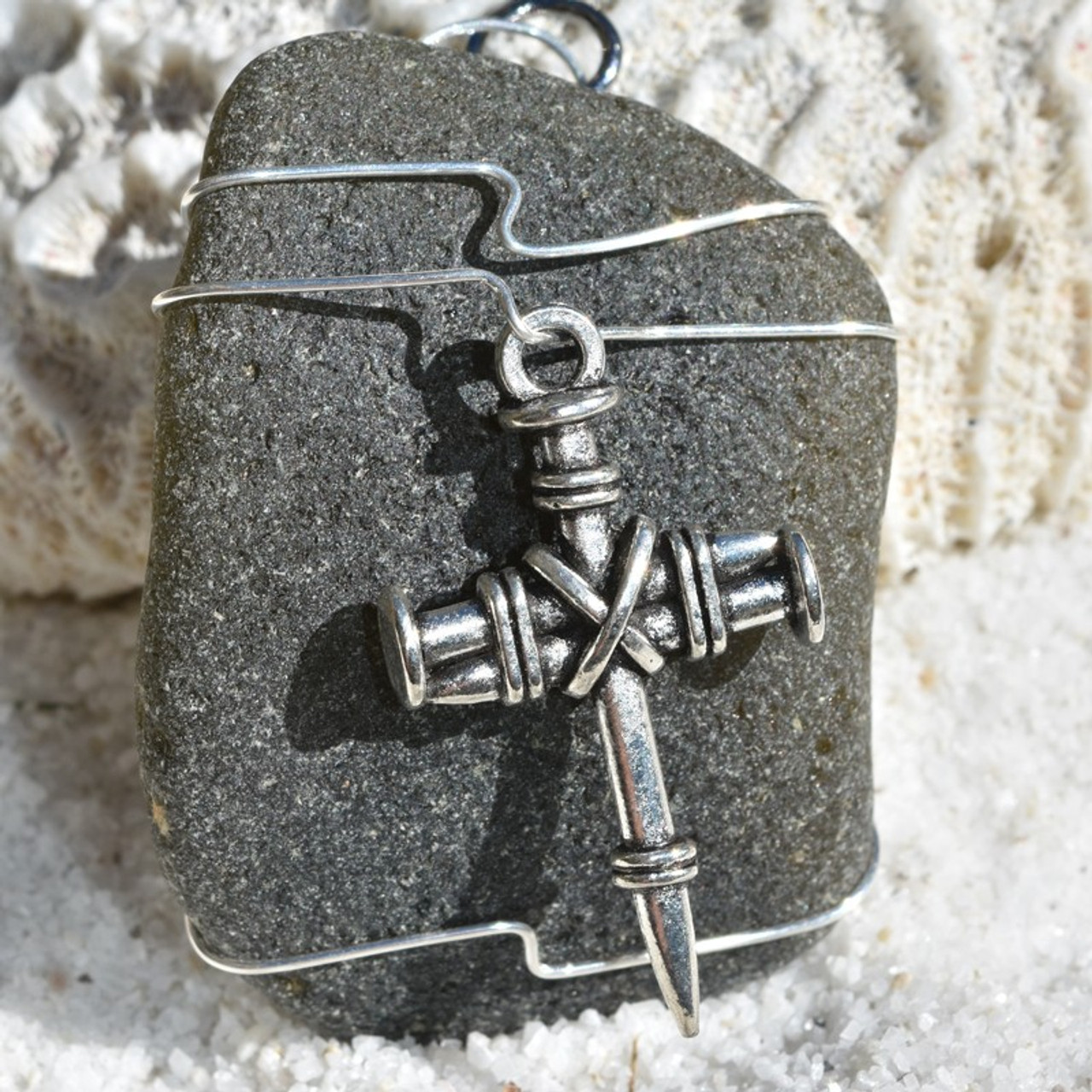 Nail Cross Christmas Ornament