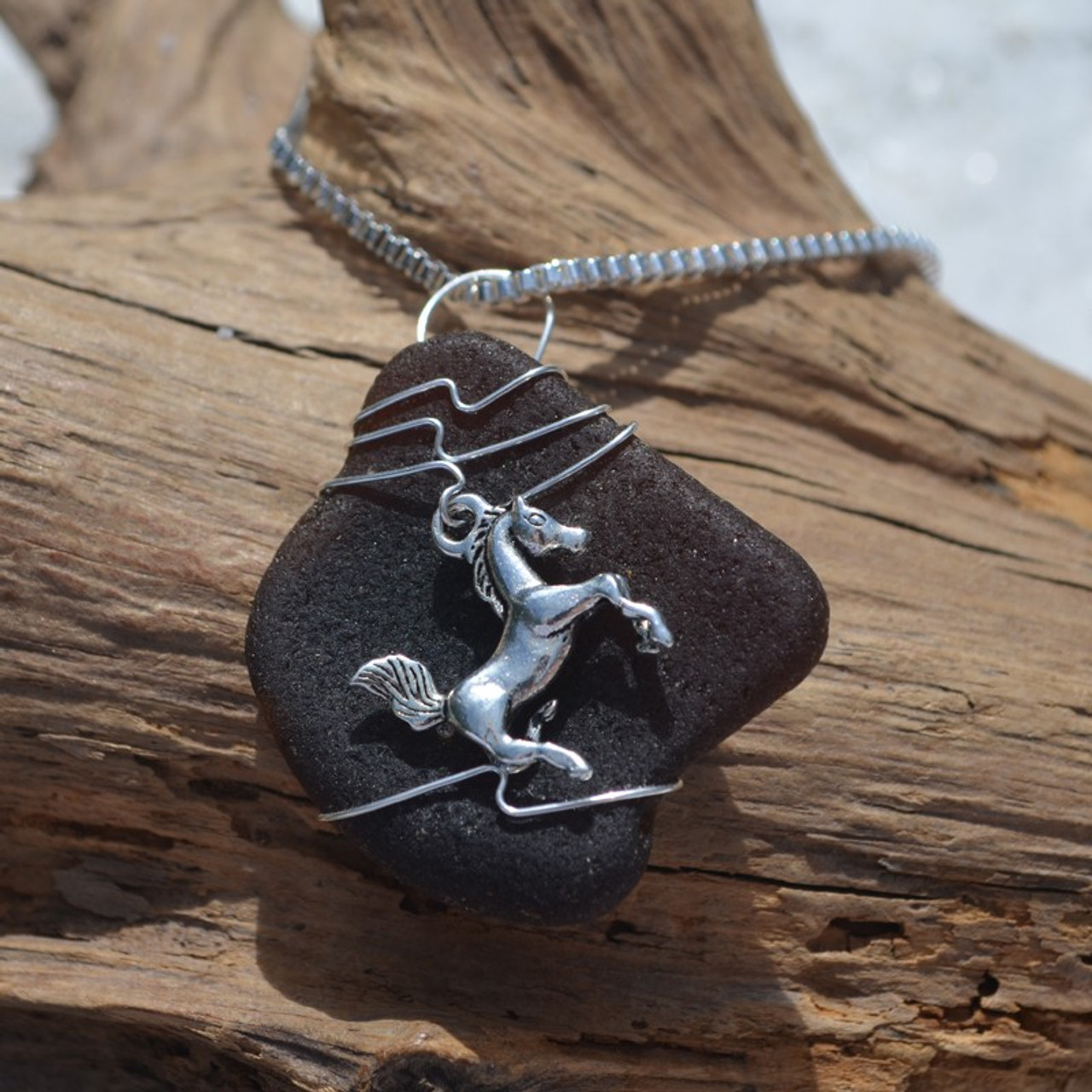 Horse and Sea Glass Necklace