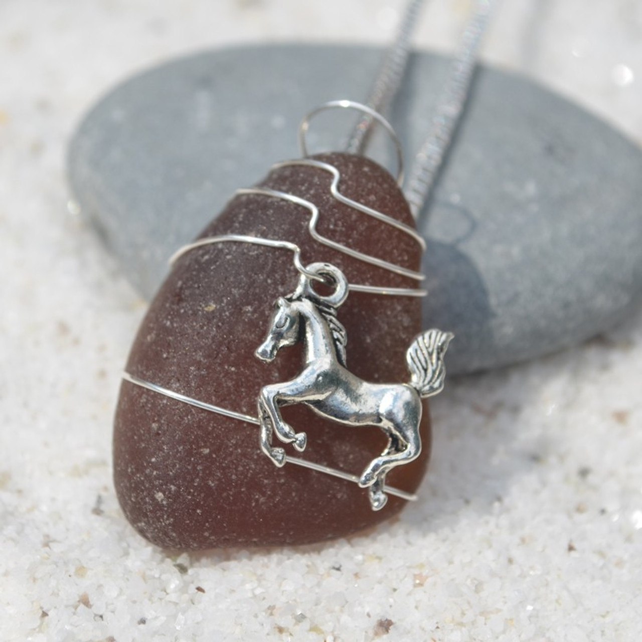 Wire Wrapped Horse Necklace