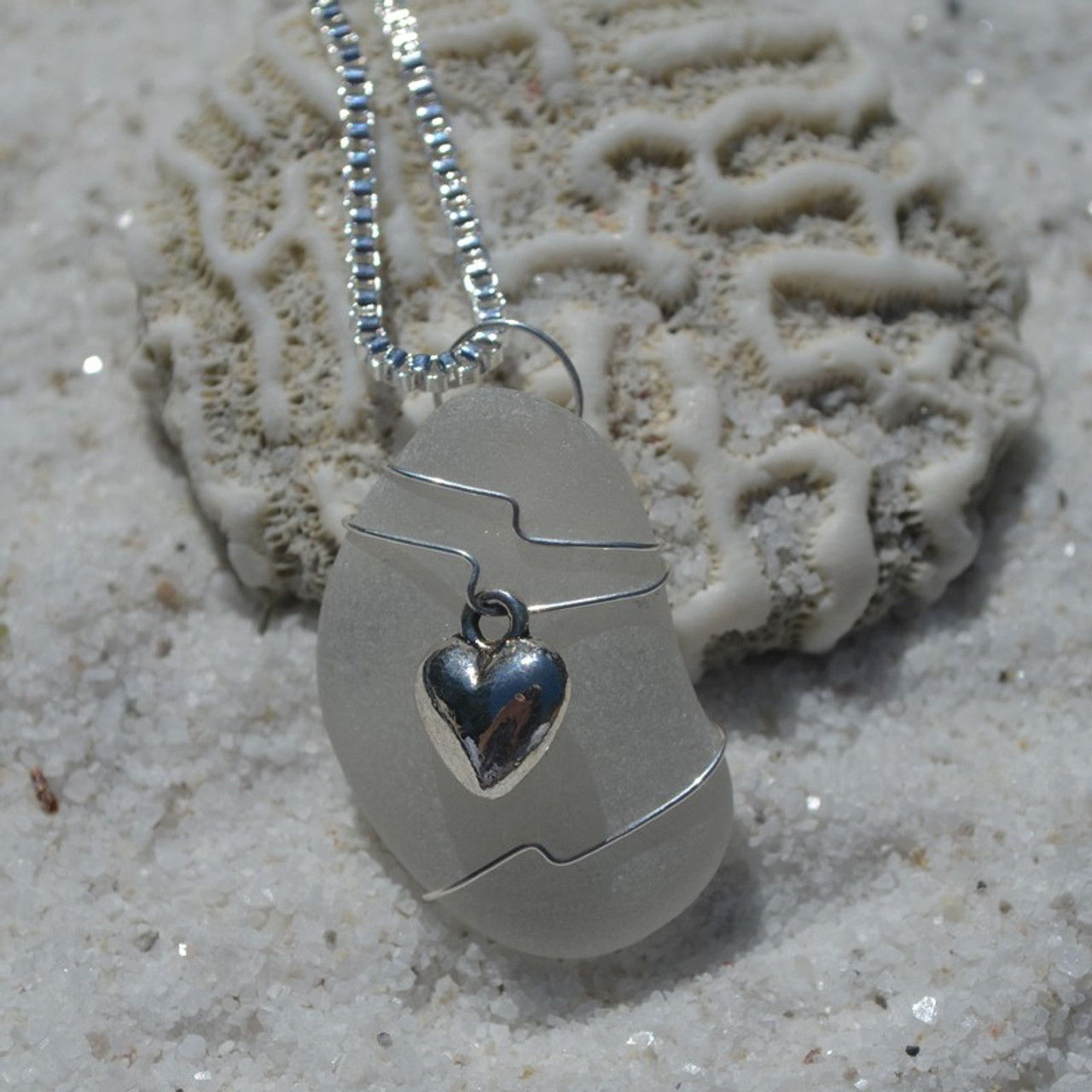 Wire Wrapped Sea Glass Heart Necklace
