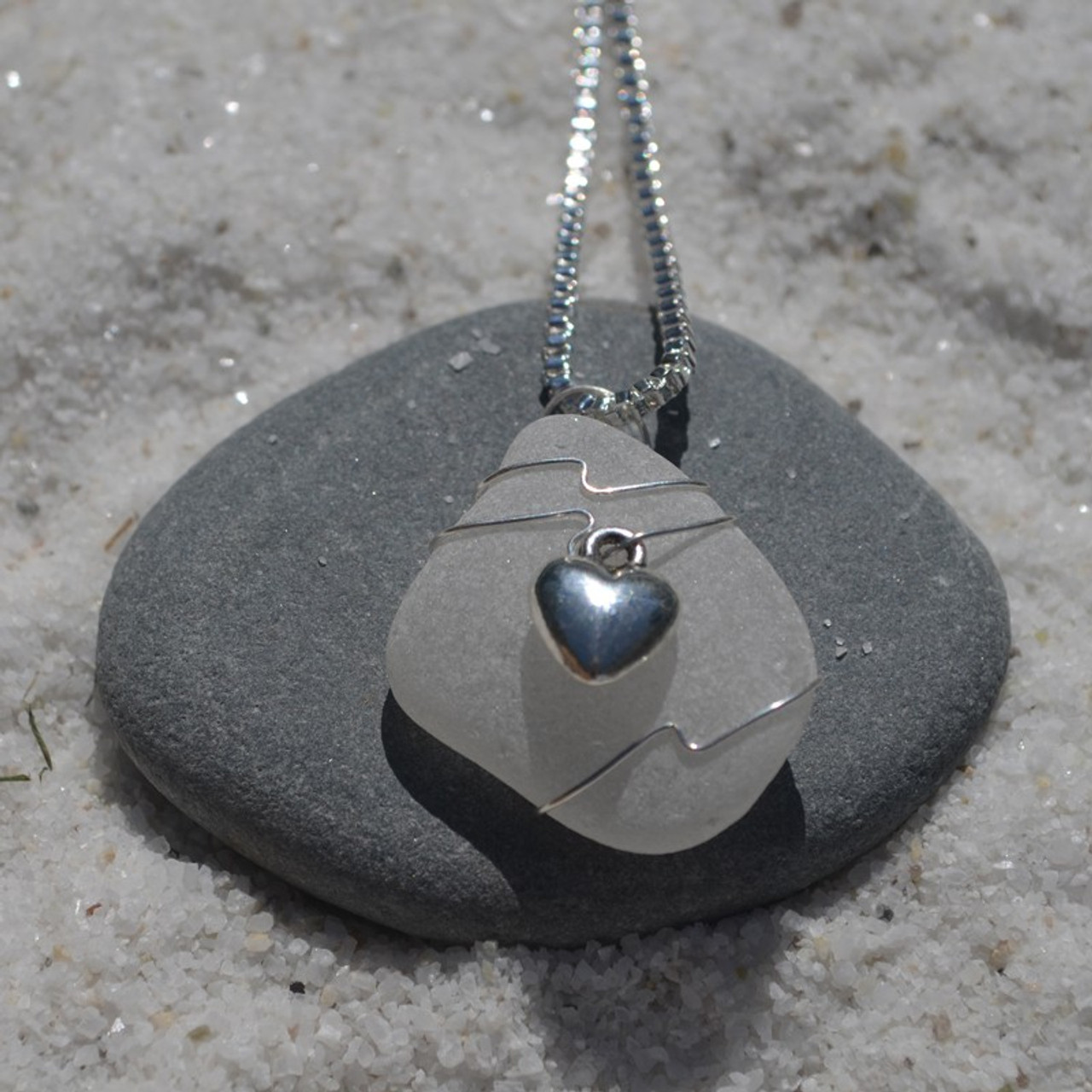 3D Heart Necklace on Sea Glass