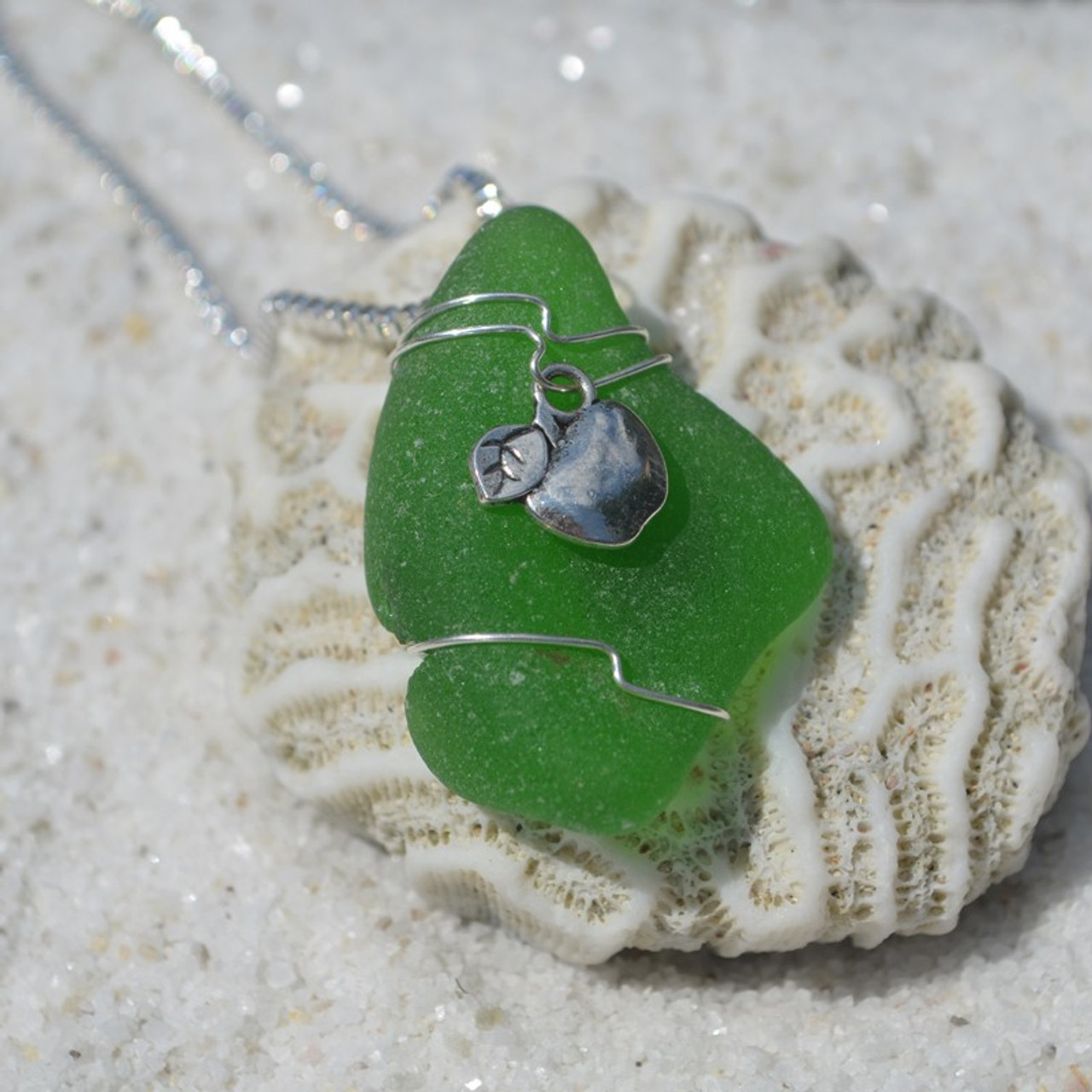Wire Wrapped Sea Glass Necklace with an Apple