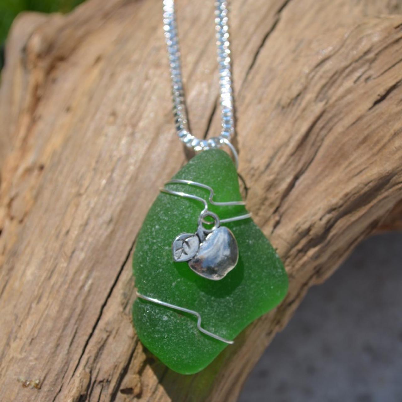 Apple Sea Glass Necklace