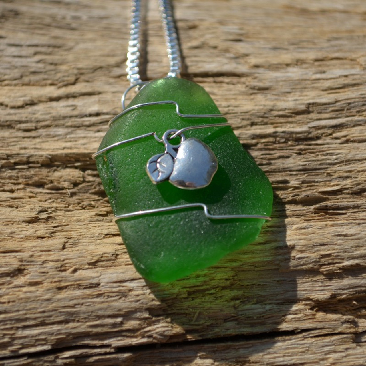Wire Wrapped Apple Sea Glass Necklace