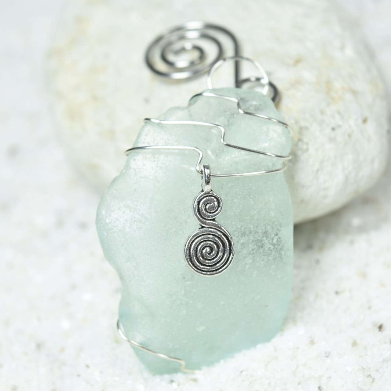 Spiral Charm on a Surf Tumbled Sea Glass Ornament - Choose Your Color Sea Glass Frosted, Green, and Brown - Made to Order