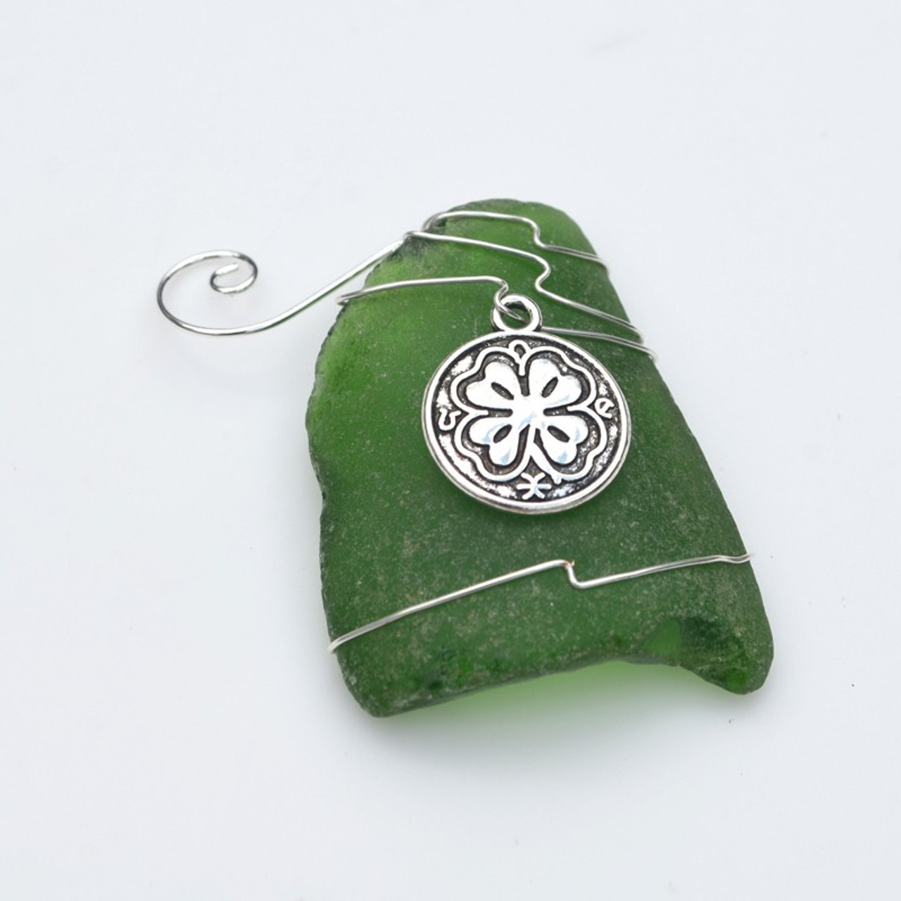 Shamrock Charm on a Custom Surf Tumbled Sea Glass Ornament - Choose Your Color Sea Glass Frosted, Olive Green, and Brown.-1