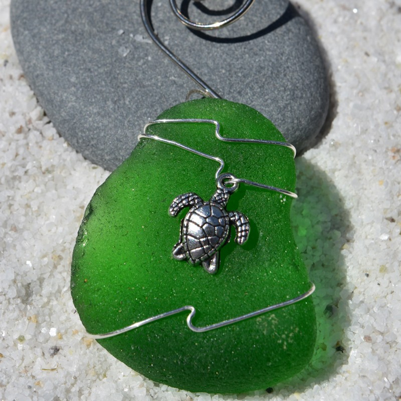 Sea Turtle Charm on a Custom Surf Tumbled Sea Glass Ornament - Choose Your Color Sea Glass Frosted, Olive Green, and Brown.-1